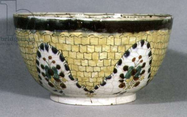 E17 Bowl with yellow hanging net design and six bouquets of flowers, from Kutahya, Anatolia, c.1765 (ceramic)