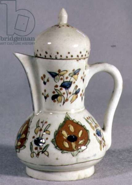 Q2 Coffee Pot with decoration of palmettes and floral sprays, from Kutayka, Armenia, mid 18th century (ceramic)