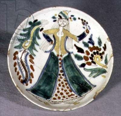 J17 Dish or saucer with decoration of a woman dancing, from Kutahya, Armenia, c.1750-1800 (ceramic)