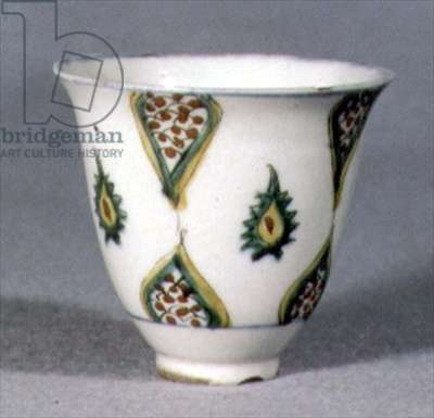 E21 Cup with stylised fruit or seed decoration in sections, Islamic, 1700-1750 (ceramic)