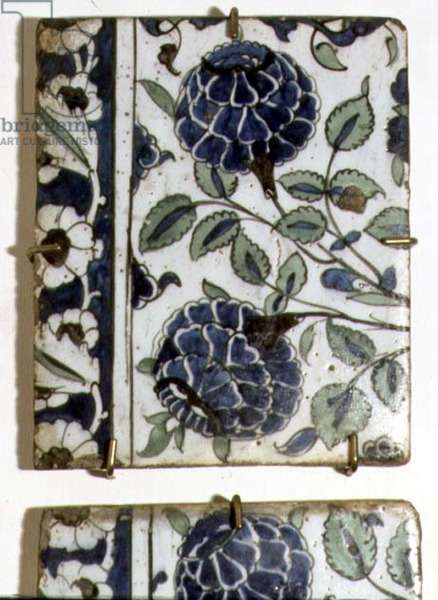 A2 Tile with stylised design of blue flowers, Syrian (ceramic)