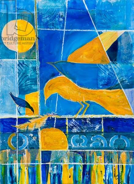 Blue Horizons (acrylic collage)
