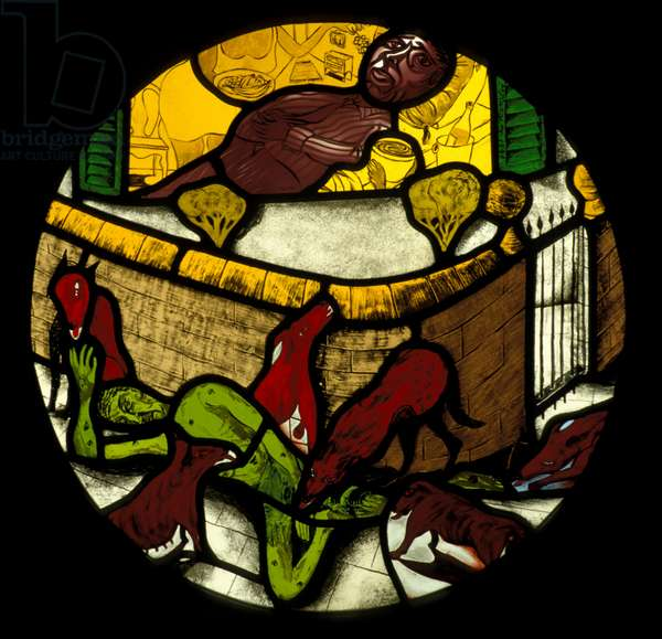 Dives and Lazarus 1/3, 1994 (stained glass)