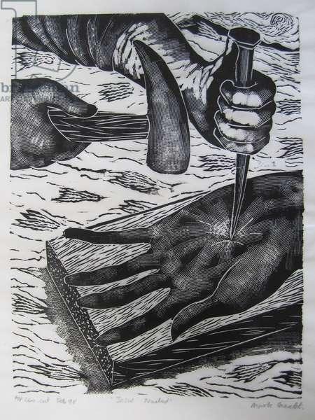 Jesus nailed, 1990 (linocut)