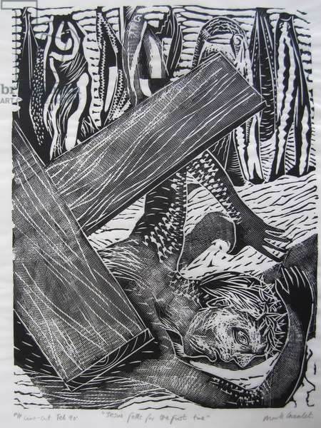 Christ falls for the first time, 1990 (linocut)