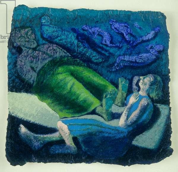Ruth sleeps at Boaz's feet, 1995 (oil on paper)