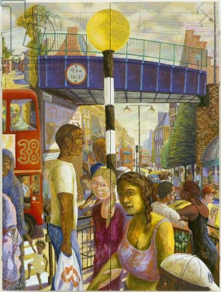 Hackney High Street, 2006 (oil on wood panel)