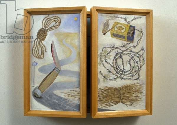 Isaac family triptych (doors closed), 2001 (oil on wood)