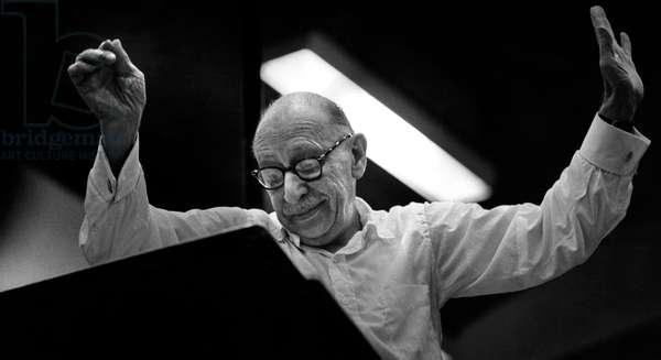Igor Stravinsky conducting at the Maida Vale Studios, during recording for the BBC, c. 1960