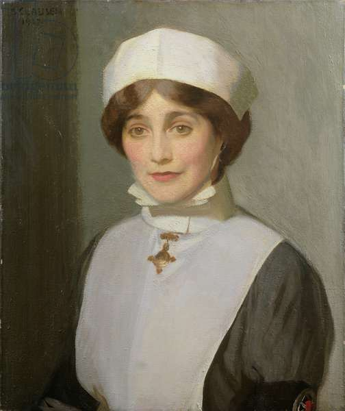 Portrait of a St. John Ambulance Nursing Sister, Voluntary Aid Detachment, 1917 (oil on canvas)