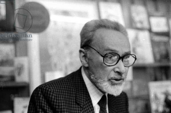 Primo Levi, 1985 (b/w photo)