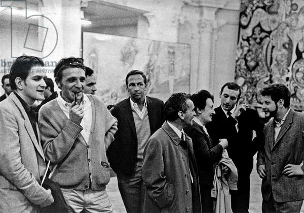 "Opening of the exhibition """" Anti-Proces 3"""" (Anti Proces III) a la, Galleria Brera, Milan, June 5, 1961 - From left to right: artist Erro, Daniel Pommereulle, Alain Jouffroy, Robert Rauschenberg, Ileana and Michael Sonnabend, directors of the Galleria Brera and Jean-Jacques Lebel Photography"