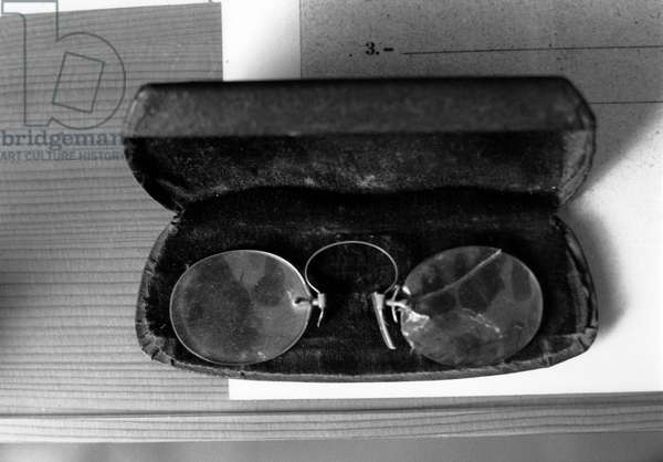 The glasses and the case of Antonio Gramsci (1891-1937) writer and Italian political theorist.