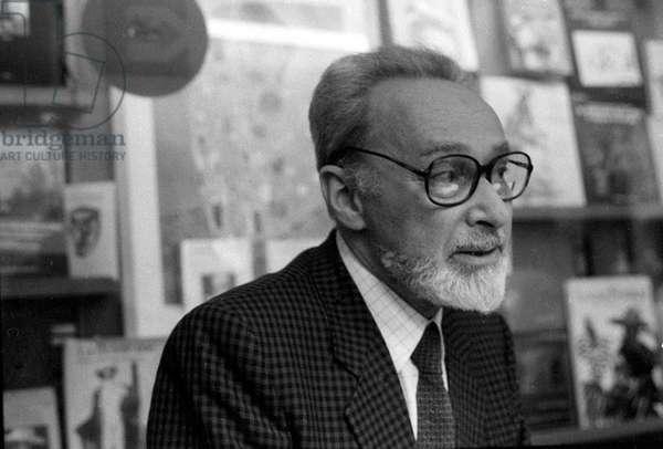 Portrait of the Italian writer Primo Levi (1919 - 1987) in 1985.