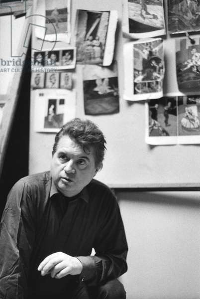 Francis Bacon in his studio, in London, 1966 (b/w photo)