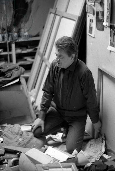 Francis Bacon in his studio in London, 1966 (b/w photo)