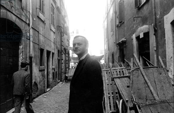 Portrait of Cy Twombly in the streets of rome in 1961