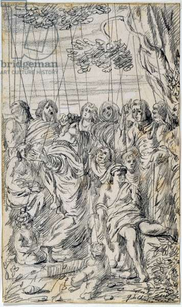 Group of puppets (Gruppo di marionette), by Giorgio De Chirico, 1922, 20th century (drawing on paper)