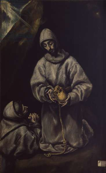 St. Francis meditating on death, by Workshop of Domenico Theotokòpoulos known as El Greek, 16th century, oil on canvas.