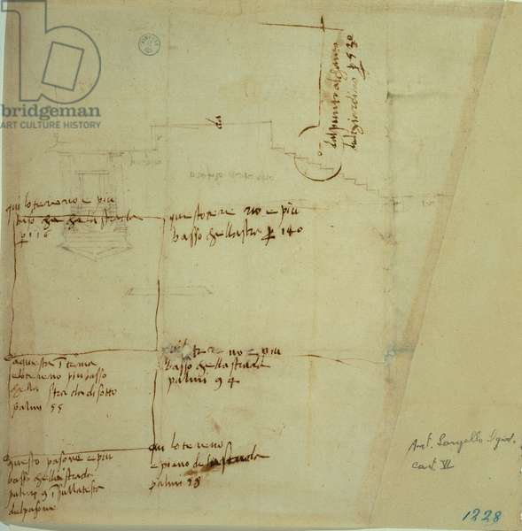 Elevation design/plan/layout of the theater of Villa Madama - Verso with a survey of the southeastern landed property/estate, 1518 - 1519 (pen, ink)