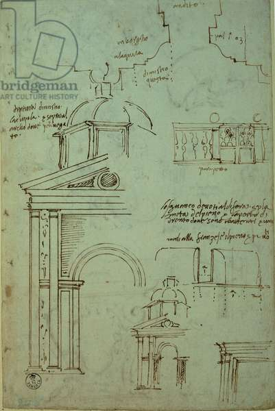 Plan of the center span of the facade of Palazzo Branconio, and other unrelated subjects/elements, (pen)