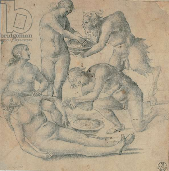 Nymphs and satyrs, 1510 (black pencil on white paper)
