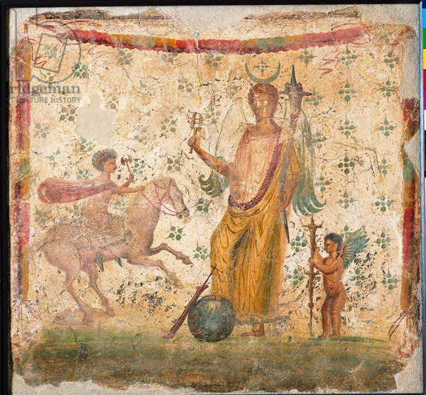 Isis Fortuna, by unknown artist, 62-79, 1st Century A.D., ripped fresco, 37 x 24 cm