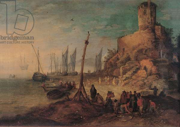 Sea Landscape with the Tomb of the Scipios, (oil on copper)