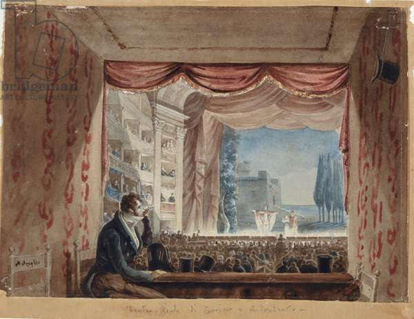 At the Theater with Self-portrait, 1817 - 1818 (watercolor)