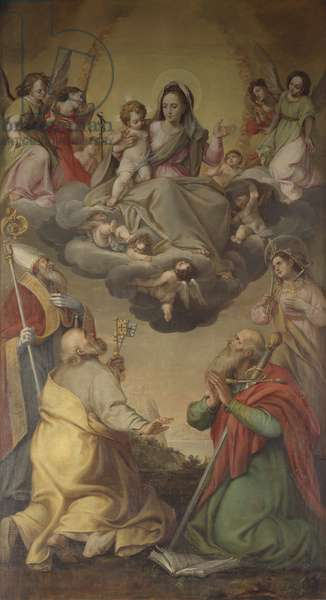 The Virgin in Glory with Saints Peter and Paul, a Saint Bishop and Saint Giustina, School of Federico Fiori also known as Barocci or Baroccio, 17th Century, oil on canvas, 312 x 178 cm