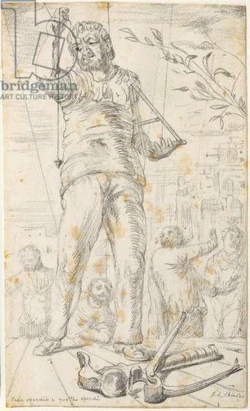 Worker Chief with Four Workers (Capo operaio e quattro operai), by Giorgio De Chirico, 1922, 20th century (pencil drawing)
