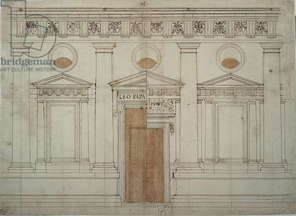 Fair copy of the elevation of the southern ambulatory, St Peter's Basilica in Rome, 1519 - 1519 (dark ink)