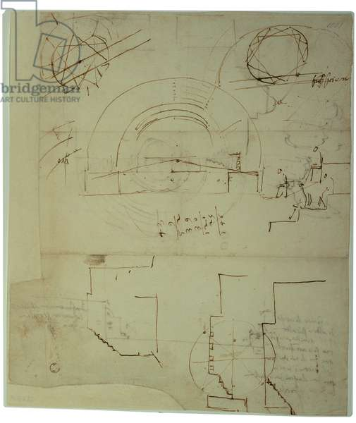 Sketches for the plan/design/layout of the theater of Villa Madama, 1518 - 1519 (pen, ink)