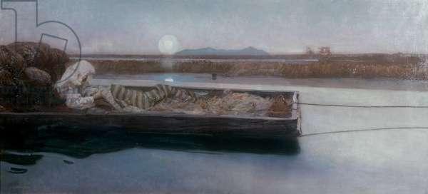 Marsh Fever (Malaria), by Giulio Aristide Sartorio, ca. 1905, 20th Century, oil on canvas, 60 x 130 cm