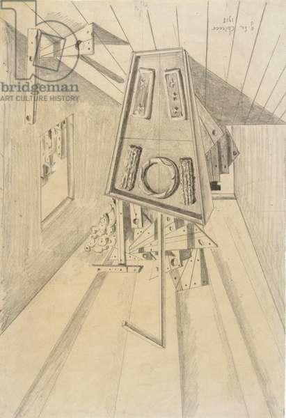Metaphysical Consolation (Consolazione metafisica), by Giorgio De Chirico, 1918, 20th Century, pencil drawing, 32 x 21,7 cm