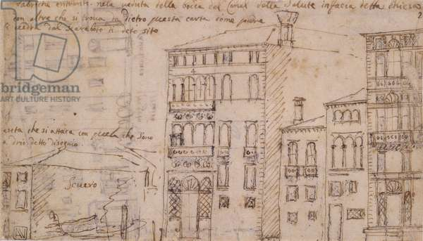Venice: Factories facing the Church of Health, by Canal Giovanni Antonio also known as Canaletto, 1697 - 1768, 17th - 18th Century, ink and pen on white paper