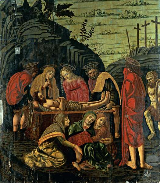 The Deposition of Jesus Christ in the Sepulcher with the Virgin Mary Held up by St Mary Magdalene and Other Characters, (tempera and oil on canvas)