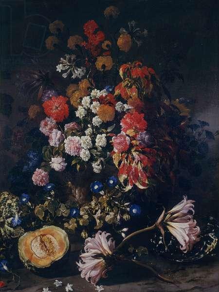 Flowers and Crystal Cup (Fiori con coppa di cristallo), by Paolo Porpora, c. 1655, 17th Century, oil on canvas, 148 x 114 cm