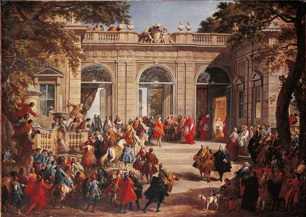Charles III of Bourbons on Visit to Pope Benedict XIV in the Coffee House of the Quirinal (Carlo di Borbone visita Benedetto XIV), by Gian Paolo Pannini, 18th century (oil on canvas)