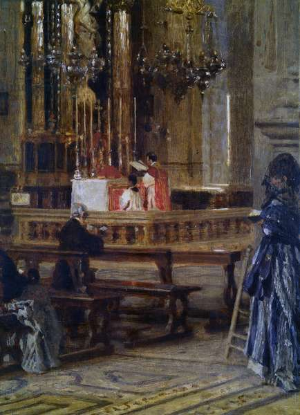 Interior of the church of Santa Maria presso San Celso in Milan, by Filippo Carcano, 19th - 20th Century, oil on canvas
