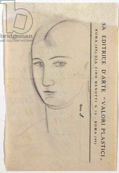 "Metaphysical Head on Letterhead ""Plastic Values'Äã'Äã"" (Testina metafisica su carta intestata ""Valori Plastici""), by Carlo Carrà, 20th century (drawing on paper)"