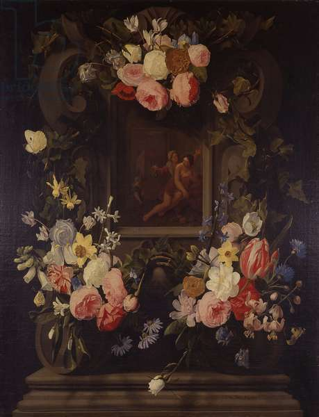 Garland of Flowers with Verturmno and Pomona, by Jan Philips van Thielen, 17th century, oil on canvas.