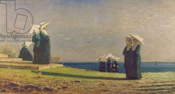 Little Nuns by the Sea (Monachine in riva al mare), by Vincenzo Cabianca, 1869, 19th Century, watercolour on cardboard, 31 x 56,5 cm