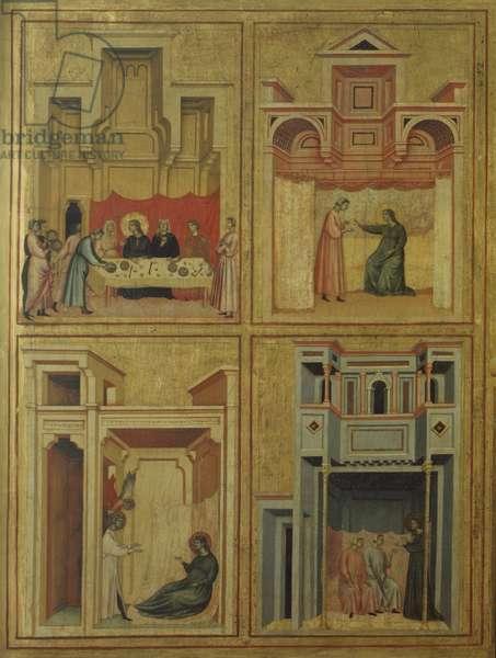 Santa Cecilia on a Throne and stories of her life ( Santa Cecilia in trono e storie della sua vita), by Master of Saint Cecilia, 1304, 14th Century, board with a gold background