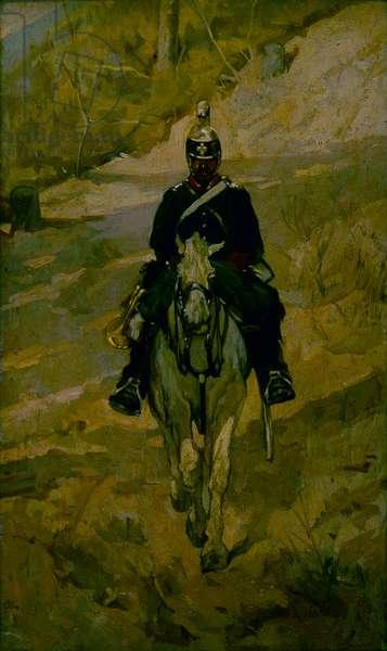 Soldier on horseback (Soldato a cavallo), by Giovanni Fattori, c. 1870, 19th Century, oil on panel, 36,5 x 21 cm