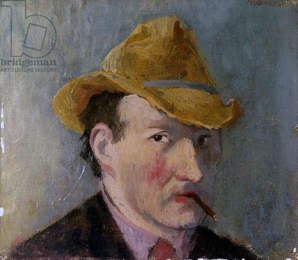 Selfportrait (Autoritratto), by Giacomo Manzù, 1938, 20th Century, oil on canvas glued on board, 20 x 33 cm