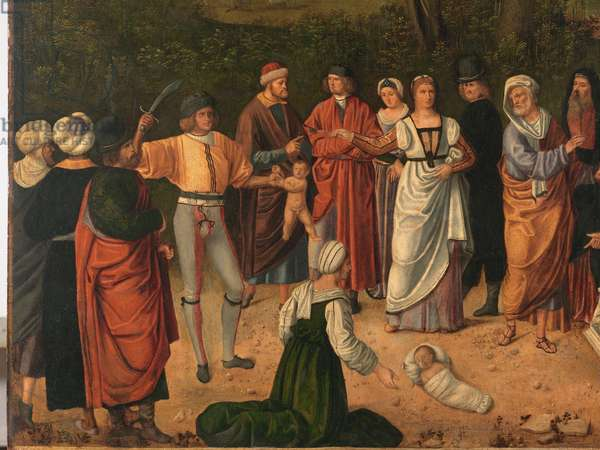 Judgment of Salomon, by Unknown Artist, 1505 about, 16th Century (oil on panel), cm 89 x 72