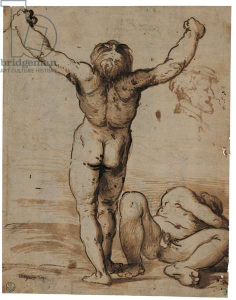 Two Male Nudes, 1510 (pen and brown ink on yellowed paper)