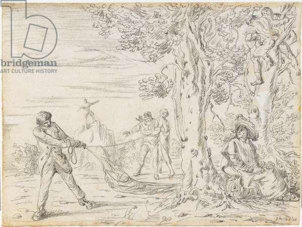 Scene of the Hammock (Scena dell'amaca), by Giorgio De Chirico, 1922, 20th century (drawing on paper)