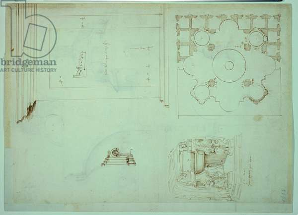 Door of the Round Temple of Tivoli and plan of the Church of Santi Celso e Giuliano in Banchi (below right), (ink on paper)